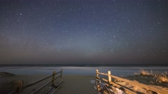 Milky Way Moonrise at Avalon New Jersey Stock Footage