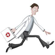 Cartoon doctor running hurriedly with case - stock illustration