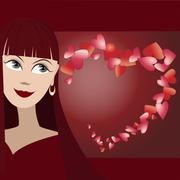 Vector background with cute face of girl and many hearts in shape of heart - stock illustration