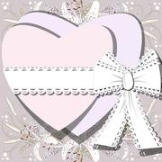 Two white hearts tied by ribbon with bow on background of blossoming lilia fl Stock Illustration