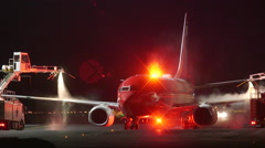 Airplane de ice wings before takeoff ambient audio Stock Footage