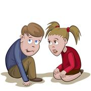 Boy and girl sit and scared with something or somebody - stock illustration