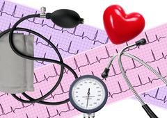 Heart analysis, electrocardiogram graph, stethoscope, heart and blood pressur Stock Photos