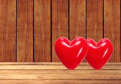 Red hearts on the wooden background Stock Photos