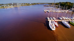 Aerial view of the water on the coast of Parnu Stock Footage