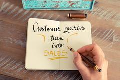 Handwritten text Customer Queries Turn Into Sales - stock photo