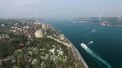 Istanbul Rumeli Hisari and Bridge Stock Footage