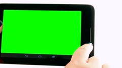 Building Inspector with tablet PC  . Cut green background . Chromakey - stock footage