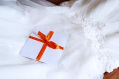 Wedding Details Invitation on Dress Stock Photos