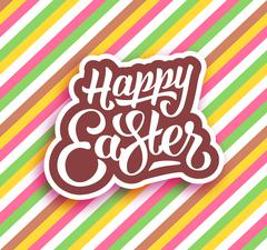 Happy Easter greeting card with hand lettering - stock illustration