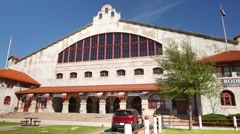 Tilt down to Fort Worth Stockyards Colleseum Stock Footage