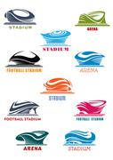 Sports stadiums and arena icons - stock illustration