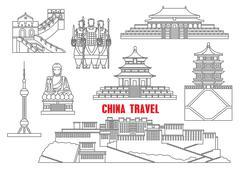 China landmarks thin line icons Piirros
