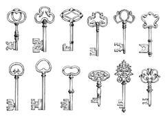 Old skeleton keys sketches set Stock Illustration