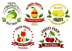 Stock Illustration of Organic food emblems with fresh fruits and juice