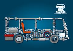 Bus silhouette with mechanical parts Stock Illustration