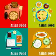 Indian, chinese, thai and korean cuisine - stock illustration
