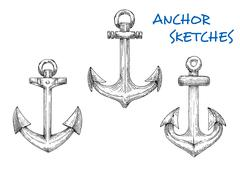 Vintage sketched sea anchors set Stock Illustration