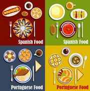 Portuguese and spanish national cuisine - stock illustration