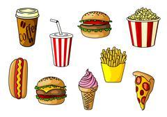 Fast food snacks, desserts and drinks Piirros