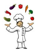 Asian chef juggling with fresh vegetables - stock illustration