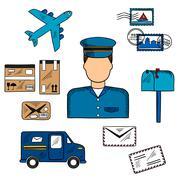 Postal icons around a Postman Stock Illustration