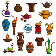 Various vases, jugs, containers and kitchenware Stock Illustration