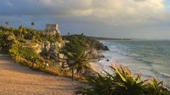 Tulum mayan ruins at sunrise no people Arkistovideo