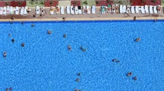 People swim in the pool at the hotel. Istanbul, Turkey. Top view Stock Footage