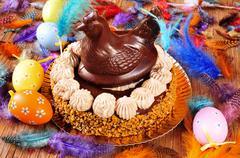 Mona de pascua, an ornamented cake eaten in Spain on Easter Monday Stock Photos