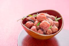Umeboshi, pickled japanese plum. Stock Photos