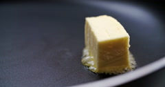 Butter melting on hot pan Stock Footage