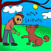 Man with dog. Vector illustration. EPS10 Piirros