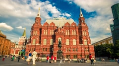 The State Historical Museum on Red Square time lapse Stock Footage