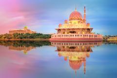 Sunset over Putrajaya Mosque, Kuala Lumpur Stock Photos