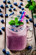 Blueberry smoothie in mason jar - stock photo