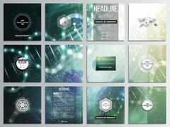 Set of 12 creative cards, square brochure template design. DNA molecule Stock Illustration