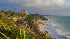 Tulum mayan site at sunrise dolly motion Stock Footage
