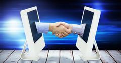 Composite image of hand shake in front of wires - stock illustration