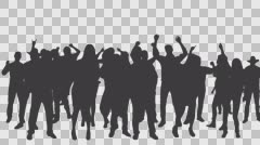 Dancing people in silhouette, Full HD footage with alpha channel Stock Footage