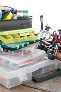 fishing tackles and baits in box - stock photo