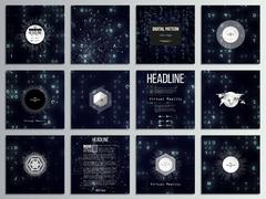 Set of 12 creative cards, square brochure template design. Virtual reality Piirros