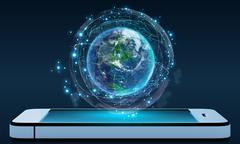 Phone and Globe surrounded by a virtual data network - stock illustration