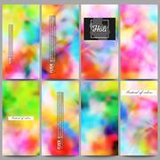 Set of modern flyers. Colorful background, Holi celebration, vector illustration - stock illustration