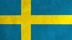 Swedish flag waving in the wind (full frame footage) Stock Footage