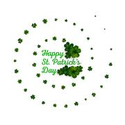 Green clovers on white, decoration for St Patricks day - stock illustration