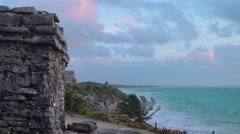 Tulum mayan site on the sea at sunrise Stock Footage