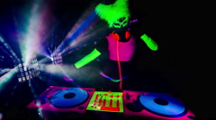 Glow uv dj party music fluorescent woman disco ultra violet Stock Footage