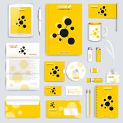 Stock Illustration of Yellow set of vector corporate identity template. Modern business stationery