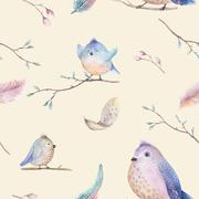 Watercolor  spring  rustic pattern with nest, birds, branch,tree Stock Illustration